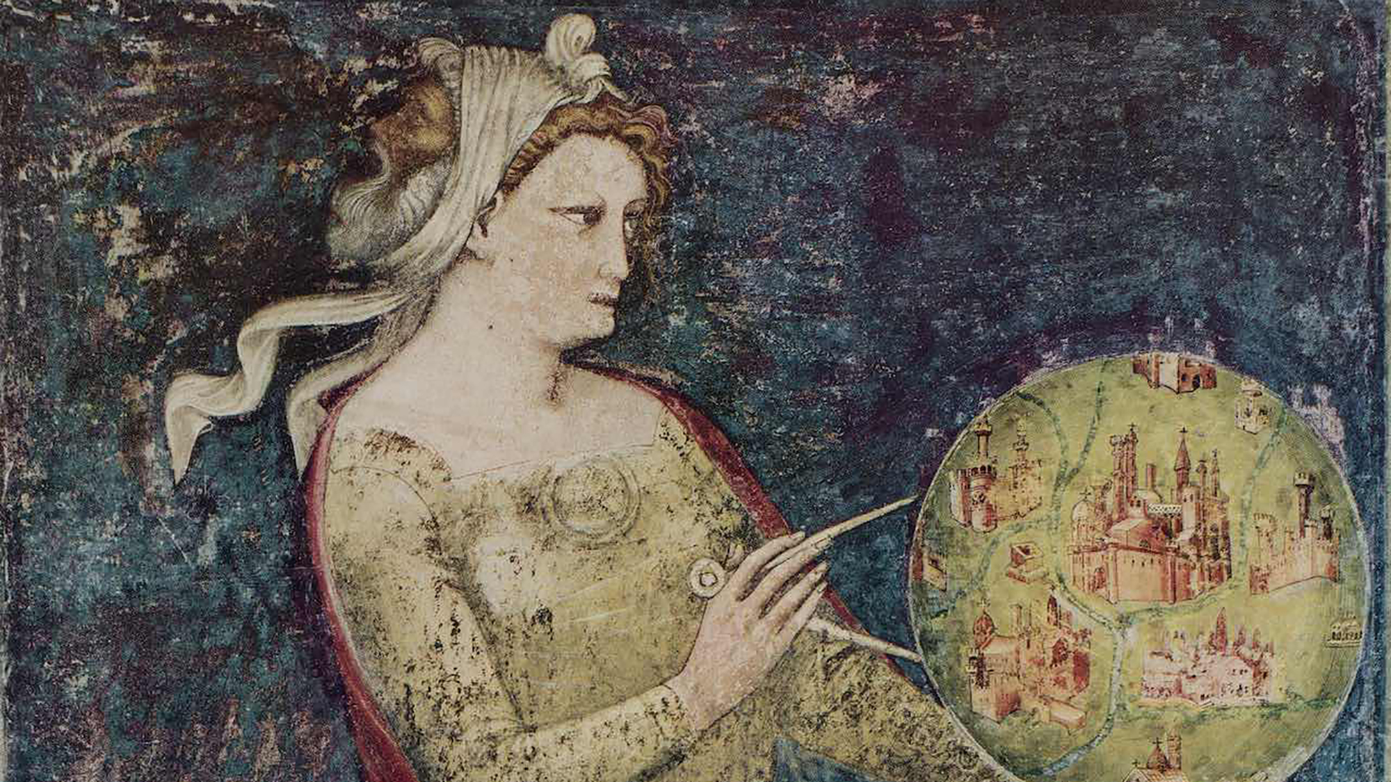A historical painting shows a woman measuring a model of earth with a pair of compasses.